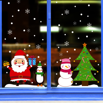 Snow mall shop window glass flower stickers wall stickers door stickers