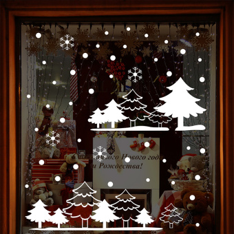 Snow New Year large Christmas window wall adhesive paper