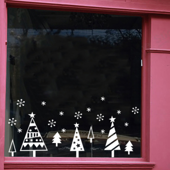 Snow PARK'S shop bar window decoration Christmas tree double-sided stickers wall stickers