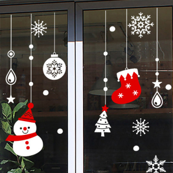 Snow shop window glass door Decorative Sticker Christmas socks adhesive paper