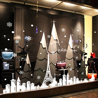 Snowflake Christmas decoration wall sticker bedroom school double-sided stickers