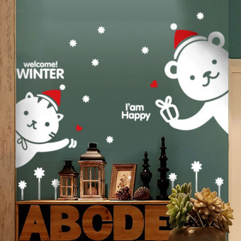 Snowflake snowman Christmas New Year wall stickers