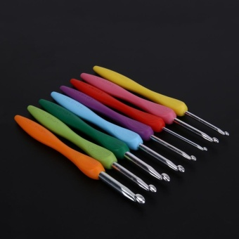 Soft Handle 8pcs Colorful Aluminium Crochet Hooks Knitting NeedlsSet - intl - 5