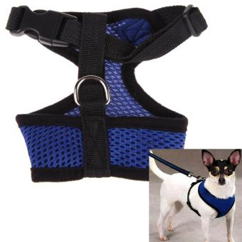 Soft Mesh Dog Harness Pet Puppy Cat Clothing Vest Blue M