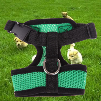 Soft Mesh Dog Harness Pet Puppy Cat Clothing Vest Green M - 4