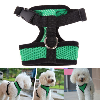 Soft Mesh Dog Harness Pet Puppy Cat Clothing Vest Green M