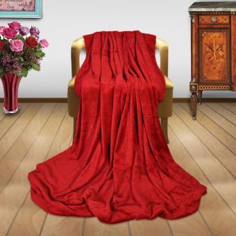 Soft Warm Reversible Queen Size Fleece Throw Blanket Bed Mat Plain Color Design With Pocket - 3