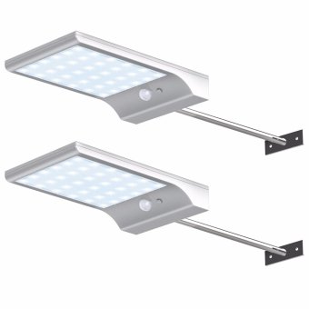 Solar Gutter Lights Wall Sconces with Mounting Pole Outdoor Motion Sensor Detector Light Security Lighting for Barn Porch Garage, Pack of 2 - intl