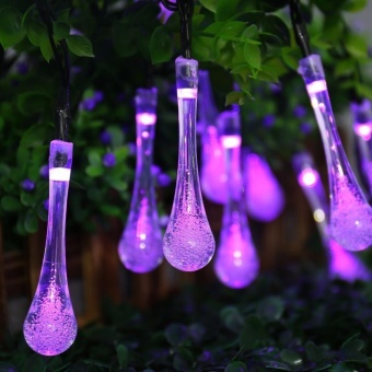 Solar String Lights, 15.7ft 8 Light Modes 20 LED Water Drop Fairy String Lighting for Indoor/Outdoor Home, Patio, Lawn, Garden, Party, Christmas, and Holiday Decorations (Purple) - intl - 2