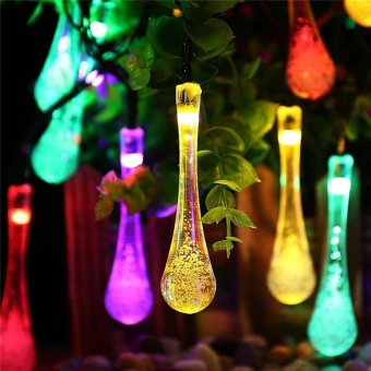 Solar String Lights, 21FT 30 LED Water Drop Fairy Lights, ChristmasSolar Rope Light for Indoor/Outdoor Garden Holiday PartyDecorations Color:Multicolor - intl - 2