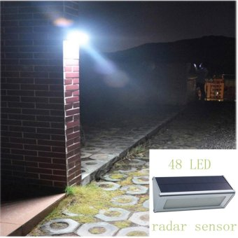 Solar Wall Lights Outdoor Aluminium Alloy 48 LED Microwave RadarSensor Waterproof Energy Saving Lamp Lamps For Garden - intl