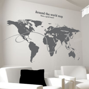Solid color European map living room wall stickers