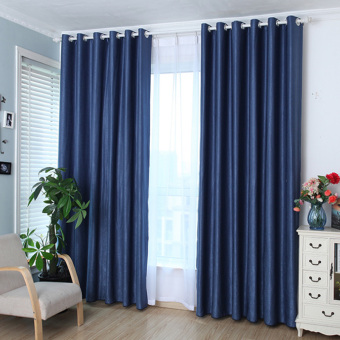 Solid Grommet Window Curtain Foam Lined blackout thermal treatment Blue