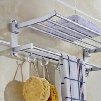 Space Aluminum Wall-Mounted Foldabel 2-Tier 3-Tier Towel Rack with Hooks - intl