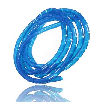 Spiral Tube Flexible Cord PC Home Cinema Cable Wire Organizer Wrap Management Blue