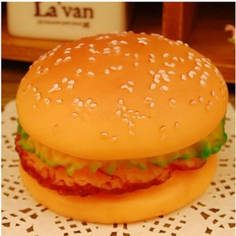 Squeaky Rubber Toys Hamburger Fetch Play Fun Pet Dog Puppy Chew Toy- intl Price Philippines