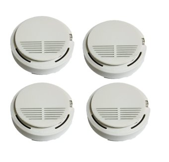 SS-168 Home Smoke Detector Alarm with 9V Battery, Set of 4