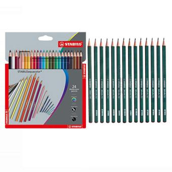 STABILO Aquacolor Crdboard Box 24S plus STABILO Othello 282 Pencil14 pcs (2H, 2B, 3H, 3B, 4B, 4H, 5B, 6B, 7B, 8B, B, F, H, HB) Price Philippines