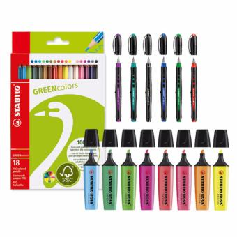 STABILO Bl@ck BP + Boss Highlighters 8s + Green Colored Pencil 18s