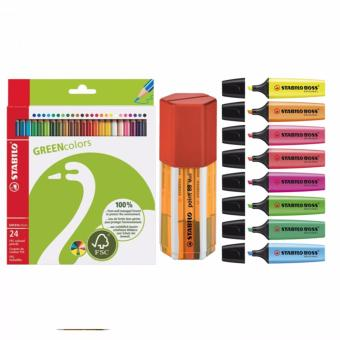 STABILO Point 88 Mini Box 18s + Boss Highlighters 8s + Green Colored Pencil 24s