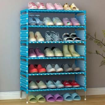 Stackable 6-Layer Shoe Rack (Blue Dot)