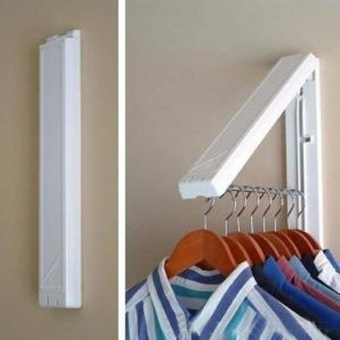 Stainless Folding Wall Hanger Mount Retractable Clothes Foldabel Hangers - intl - 5