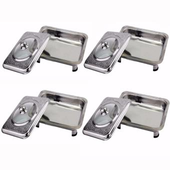 Stainless Food Warmer Tray With Pattern Design Cover Set of 4