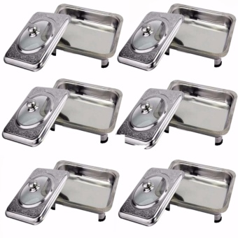 Stainless Food Warmer Tray With Pattern Design Cover Set of 6