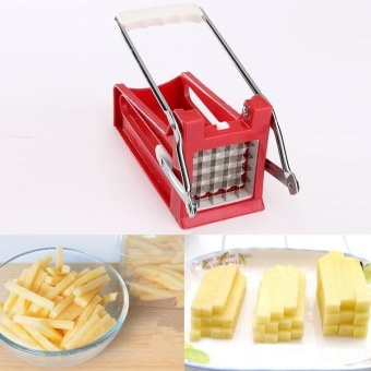 Stainless Potato Chipper French Fries Slicer Chip Cutter Maker Chopper 2 Blades - intl