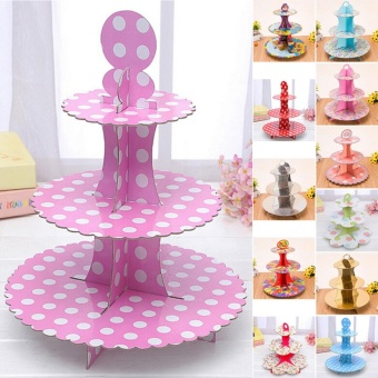 Stainless Steel 3 Tier Cupcake Holder Cup Cake Stand Wedding PartyBirthday Cake Pink - intl