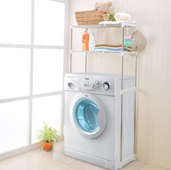 Stainless steel can be retractable washing machine storage rack shelf