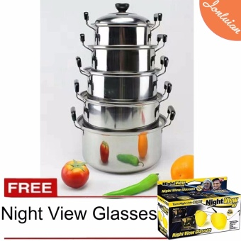 Stainless Steel Cooking Pot 5 Set wit Free Night View Glasses