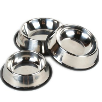 Stainless Steel Dog Food Bowl Set of 3 (Silver)