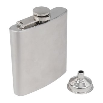 Stainless Steel Hip Liquor Whiskey Alcohol Pocket Flask Gift Box + Funnel - Intl