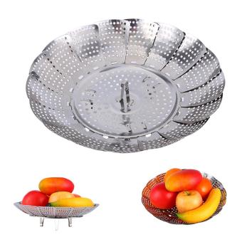 Stainless Steel Mesh Holes Vegetable Steamer Basket Cooker M - intl