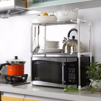 Stainless Steel Microwave Oven Rack Multi-function Kitchen ShelvesShelf Storage Rack Adjustable with Side Hook