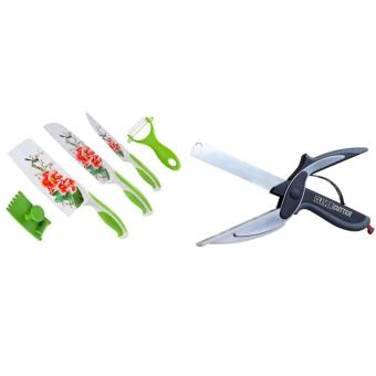 Stainless Steel Non Stick Flower Printing Ceramic Knife Set of 5With Clever Cutter 2-in-1 Knife & Cutting Board Scissors