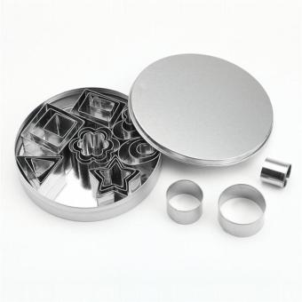 Stainless Steel Pastry Cookie Cutter Set with Storage Container forBiscuit Dough Fondant Donuts (Silver) - intl