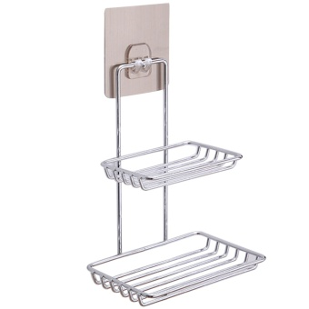 Stainless Steel Wall Mounted Sticky Shower Bathroom Kitchen RackShelf Holder Dual Layer for Soap Bath Towel Cleaning SuppliesKitchen Small Gadgets - intl