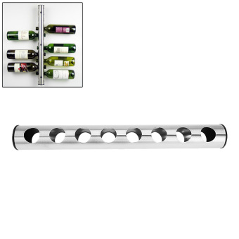 Stainless Steel Wine Rack Bar Wall Mounted Kitchen Holder 8 Bottle