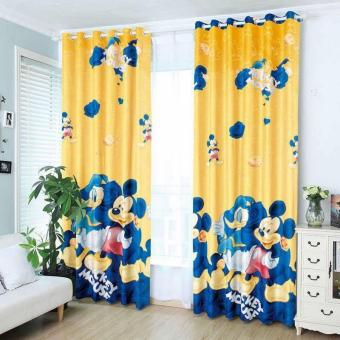 StevenShop 2pcs Animated Cotton Curtain Mickey Mouse and DonaldDuck Design