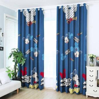 StevenShop 2pcs Animated Mickey Mouse Design Curtain with roundrigs