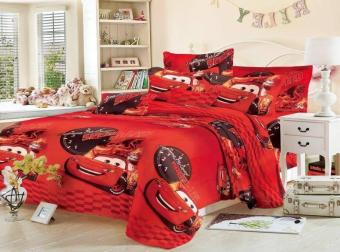 StevenShop 4in1 5D BedSheet Animated Cars Design ( 2 pcs PillowCase , 1 pcs Fittedsheet ,1 pcs Beadsheet )-Queen Price Philippines
