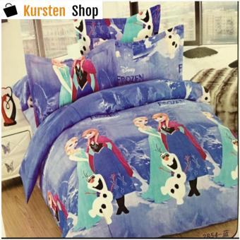 StevenShop 4in1 Bedsheet POLY COTTON Elsa & Anna Design(2 pcs pillow case , 1pcs fitted and 1pcs bedsheet)KING