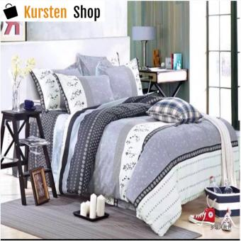StevenShop 4in1 Bedsheet POLY COTTON Grey Design(2 pcs pillow case , 1pcs fitted and 1pcs bedsheet)SINGLE