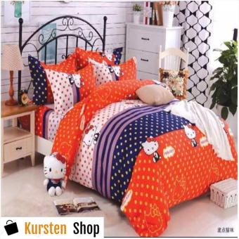 StevenShop 4in1 Bedsheet POLY COTTON HELL0 Kitty Polkadots Design(2 pcs pillow case , 1pcs fitted and 1pcs bedsheet)QUEEN