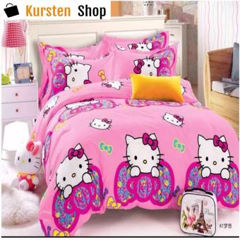StevenShop 4in1 Bedsheet POLY COTTON HELL0 Kitty Ribbon Design(2 pcs pillow case , 1pcs fitted and 1pcs bedsheet)SINGLE