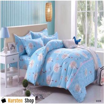 StevenShop 4in1 Bedsheet POLY COTTON LightBlue Design(2 pcs pillow case , 1pcs fitted and 1pcs bedsheet)SINGLE