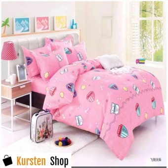 StevenShop 4in1 Bedsheet POLY COTTON Pink Design(2 pcs pillow case , 1pcs fitted and 1pcs bedsheet)SINGLE