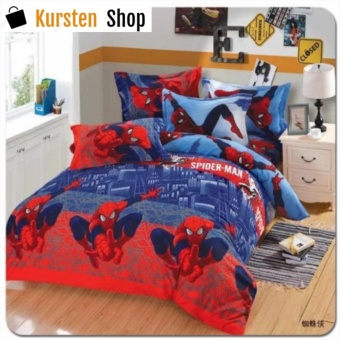 StevenShop 4in1 Bedsheet POLY COTTON Spider_man Design(2 pcs pillow case , 1pcs fitted and 1pcs bedsheet)KING